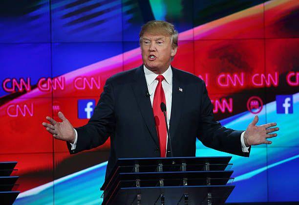 Republican presidential candidate Donald Trump speaks during the CNN Republican presidential debate on December 15 2015 in Las Vegas Nevada This is...