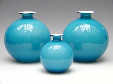 Large and small (200mm & 135mm) ball vases in blue/opal