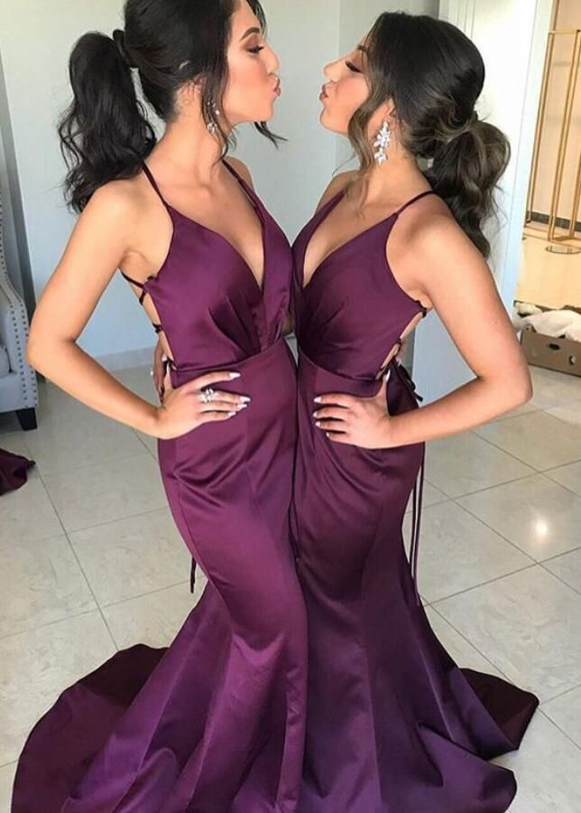 d7da65561cd Sexy V Neck Formal Evening Gown Plum Purple Mermaid Prom Dress With Open  Back
