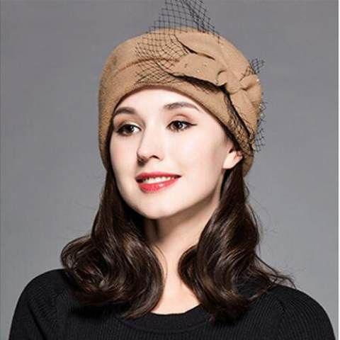 Fashion bow wool beret hat with veil for women winter pillbox hat