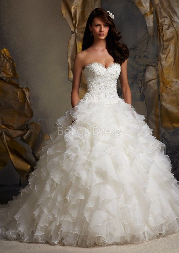 Glamorous Sweetheart Organza Ball Gown Dropped Waist Floor Length Wedding Dress/Bridal Gown