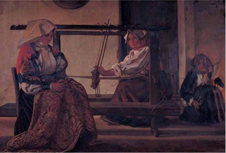 LA CASA, Filippo Figari 1928-29, olio su tela Cagliari. I costumi e i modelli effigiati non sono più quelli di Busachi ma di Atzara, nel Mandrolisai, paese nel quale Figari ha spostato ora i suoi interessi e dove, nella settimana prepasquale del 1927, sarà raggiunto dal celebre fotografo tedesco August Sander.