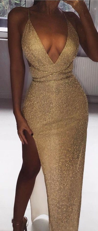 deep v-neck shinning gold sexy prom dress high slit evening dress 2018 e5962be2b
