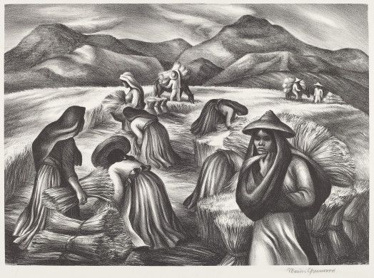 Marion K. Greenwood (artist)  American, 1909 - 1970  Mexican Harvest, 1941 lithograph Image: 251 x 351 mm Sheet: 298 x 403 mm Reba and Dave Williams Collection, Gift of Reba and Dave Williams  2008.115.2239