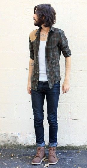 Love the rolled pants and the asymmetric shoulder patch. And, of course, I can't get enough plaid.