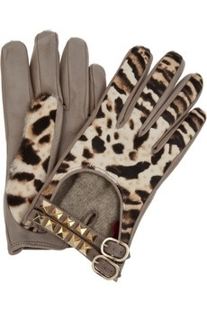 Coloured & Pattern Gloves are a BIG fashion item in 2012  Valentino Leather and calf hair gloves NET-A-PORTER.COM - StyleSays