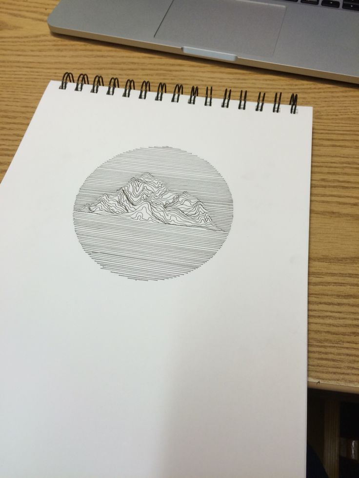 Practicing line art, with mountains in the middle