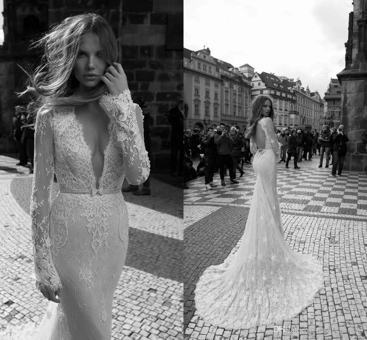 Long Sleeve 2016 Berta Wedding Dresses Romantic Lace Mermaid Style Sexy Deep V-neck Illusion Backless Bow Pearls Sequin Crystal Bridal Dress Online with $146.6/Piece on Molly_bridal's Store | DHgate.com