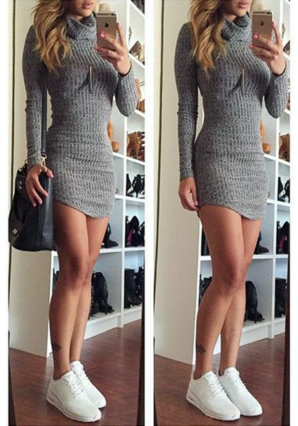 Collage image of girl in grey turtleneck sweater dress