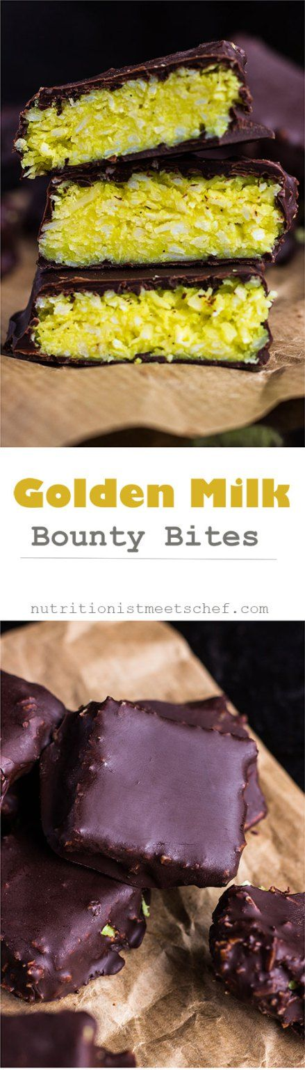 Golden Milk Bounty Bars with the flavours & colour of golden milk. No refined sugar, only honey to sweeten to pot. Great sweet treat for easter!