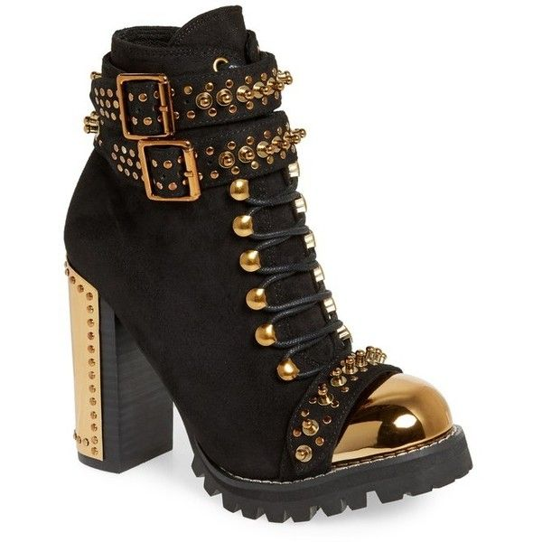 Women's Jeffrey Campbell Scorpius Armored Lug Boot (11.460 RUB) ❤ liked on Polyvore featuring shoes, boots, cap toe boots, jeffrey campbell boots, thick heel shoes, studs shoes and jeffrey campbell shoes