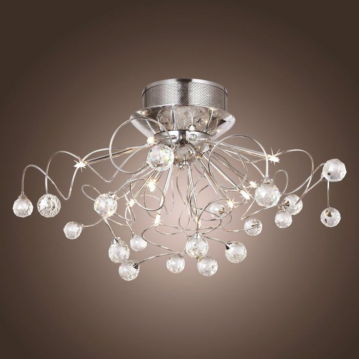 Schon 11 halogen lamp clear crystal flush mount ceiling lights chrome chandelier