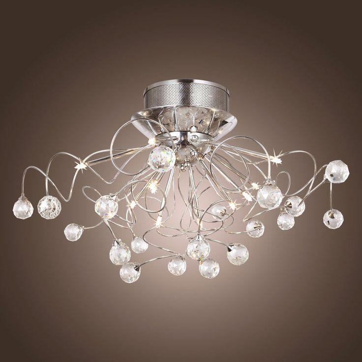 Schon 11 Halogen Lamp Clear Crystal Flush Mount Ceiling Lights Chrome Chandelier