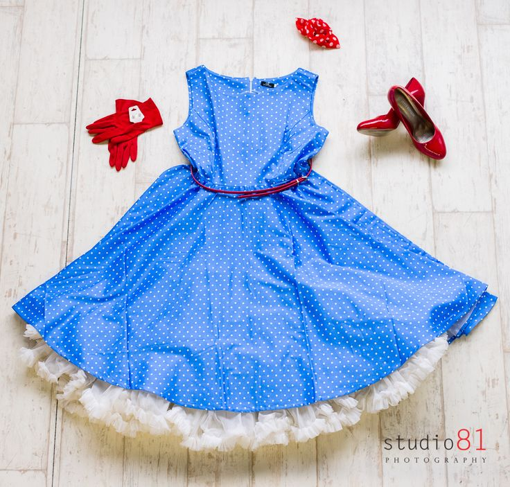 Sky Blue and White Polka Dot Dress (Size XL), Red Belt, Red and White Flower Clip, Red Gloves, White Petticoat, Red Heels (Size 9), Pearl Earrings