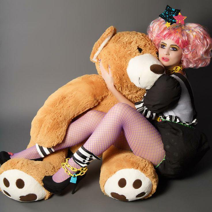 #livingdoll #doll #bear #pinkwig #pink #wig #teddy #teddybear #fishnets #cosplay…
