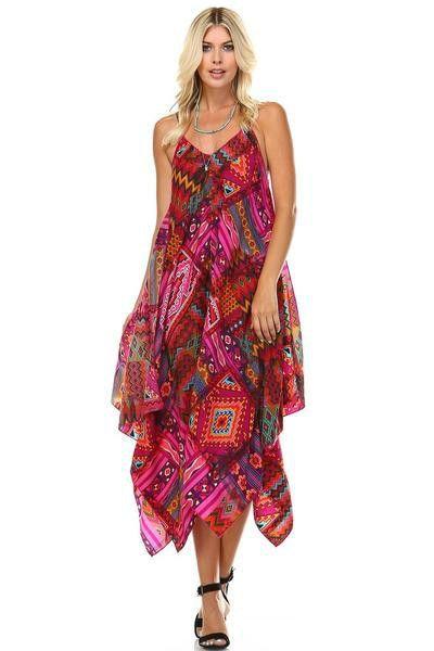 Susanna Aztec Pattern Hankercheif Hem Maxi Dress - Multi