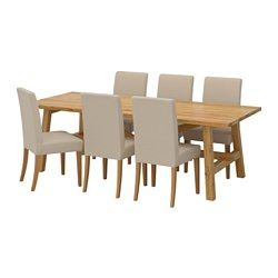 IKEA - MÖCKELBY / HENRIKSDAL, Table and 6 chairs, Every table is unique, with varying grain pattern and natural color shifts that are part of the charm of wood.Good environmental choice, because the method of using a top layer of solid wood on particleboard is resource-efficient.Table with a top layer of solid wood, a durable natural material that can be sanded and surface treated when required.The plank expression is enhanced by the design on the edges.The table has a full plank design that…