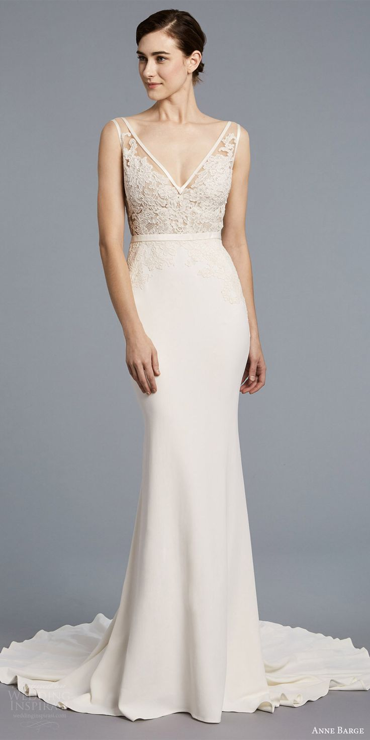 anne barge spring 2018 bridal sleeveless illusion straps v neck sheer lace bodice sheath wedding dress (angelica) mv -- Anne Barge Spring 2018 Wedding Dresses #wedding #bridal #weddingdress