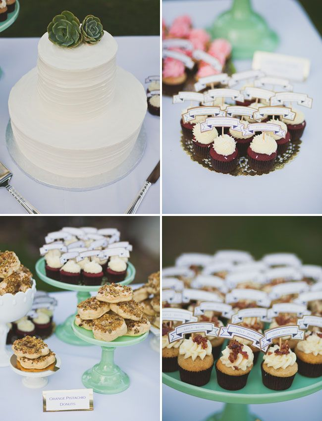 this couple did a neat spin on regular comfort food for their wedding, among their desserts they served orange pistachio doughnuts and maple bacon cupcakes.. yum!