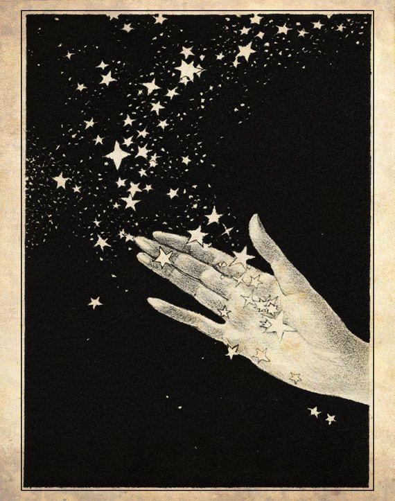Papercut Art - Handful of Stars - Elegant Black and White Whimisical Silhouette - Nursury Decor - Children's Fairytale Illustration Print. $25.00, via Etsy.
