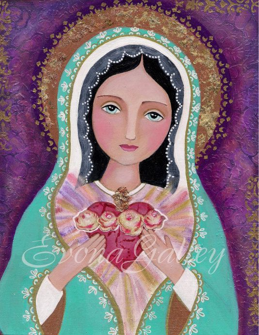 Folk Art The Immaculate Heart of Mary Picture by Evonagallery