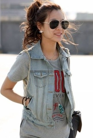 pull a denim vest over a tee for a casual look!  I want a denim vest so bad but all the ones I find at thrift stores always have embroidered stuff or rhinestones or something.):