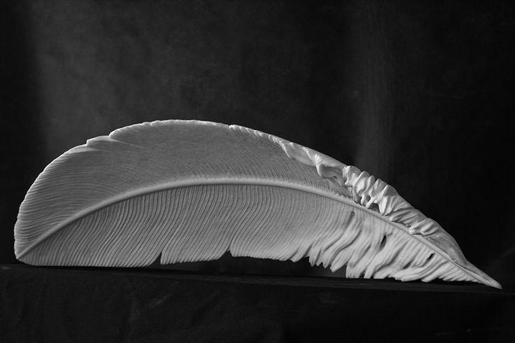 Michal Jackowski, FEATHER, Carrara white marble, 72x37x20cm, 2012  #sculptures #humans #antique #pinart #creative #passion #love #art #classic #feather #soft