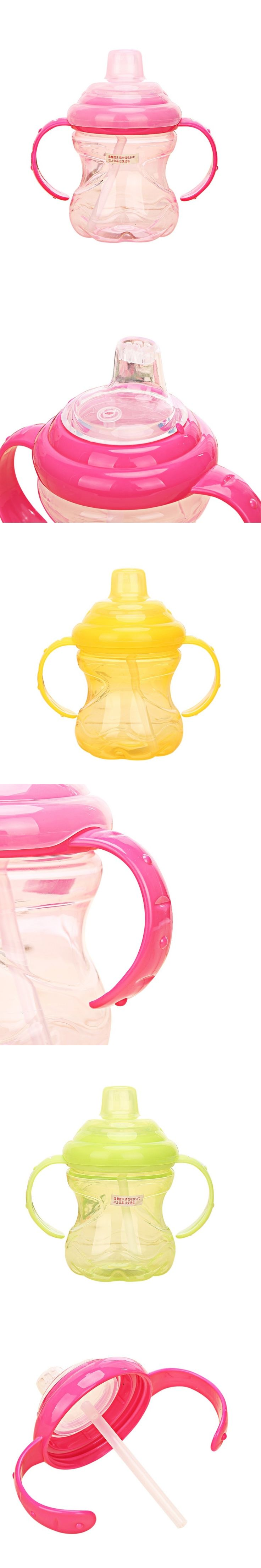 260ml Cute Baby Kids Spill-proof Sippy Cup Children Learning Feeding Drinking Water with Straw Dual Handles Bottle