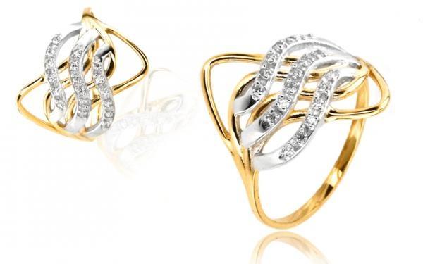 Zlatý dámsky prsteń so Swarovski kryštáľmi zo 14 karátového zlata