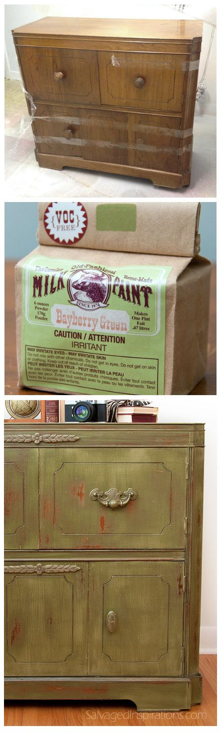 Salvaged Inspirations | Old Fashioned Bayberry Green Milk Paint | Repurposed Vintage Radio Cabinet Before and After: