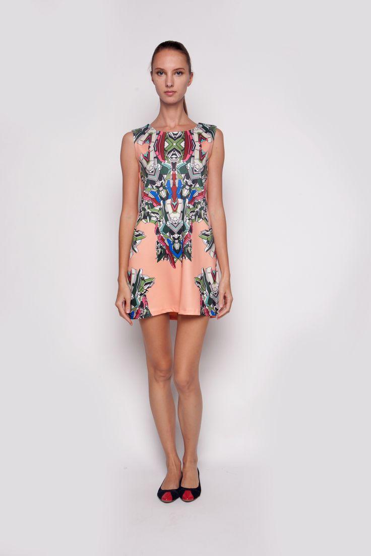 Abstrak Dress Peach