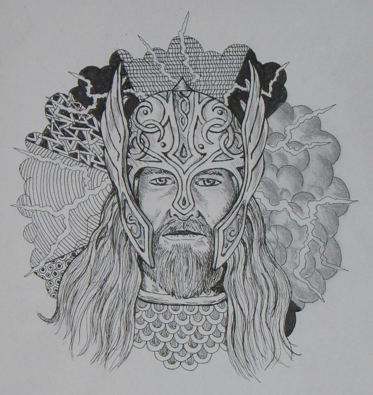 THUNDER GOD  Prelim sketch for part of a upper arm tattoo