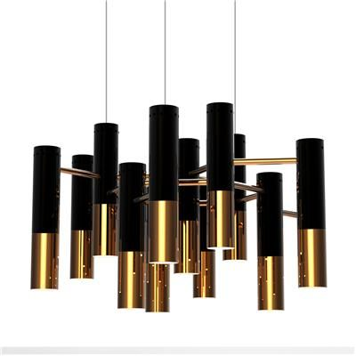 Chandelier ~ Tubular suspension light fixture of black/gold finish.