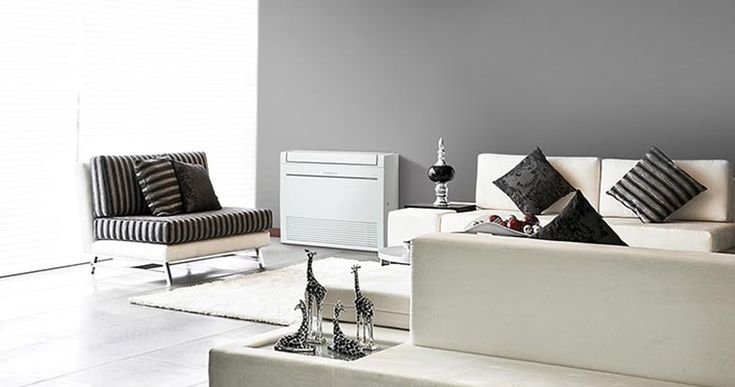 Love the patterns used in this modern living area. Features Mitsubishi Electric RapidHeat Floor Console