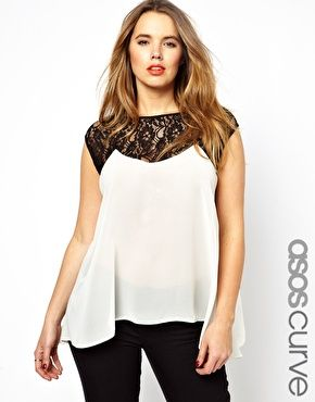 Image 1 of ASOS CURVE Exclusive Top With Lace Trim on sale $39, sz UK 20...ADORABLE for work and casual *********