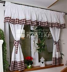 Komplet bawełniany ze wstawkami w kratę brązowo-białą  Rustyka.pl  http://bit.ly/2ppnClr