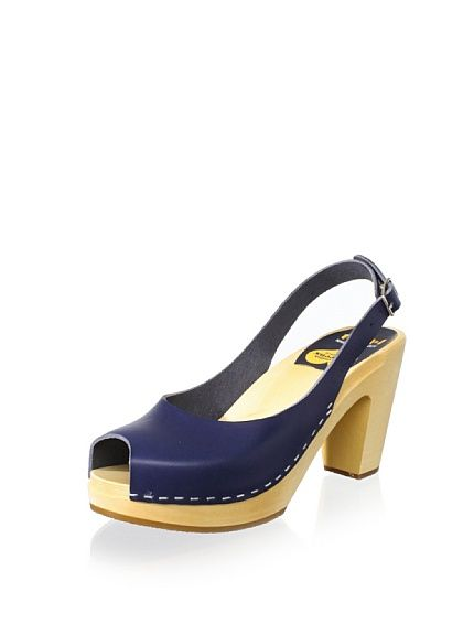 "Swedish Hasbeens Women's Peep-Toe Slingback Sandal 235/109 Sculpted leather upper tops a sturdy clog sole in this perfect peep-toe silhouette, adjustable buckled strap Approximate measurements: heel 3.5"", platform 0.75"" Fit: Runs Small Material: leather Insole Wood, Sole Manmade"