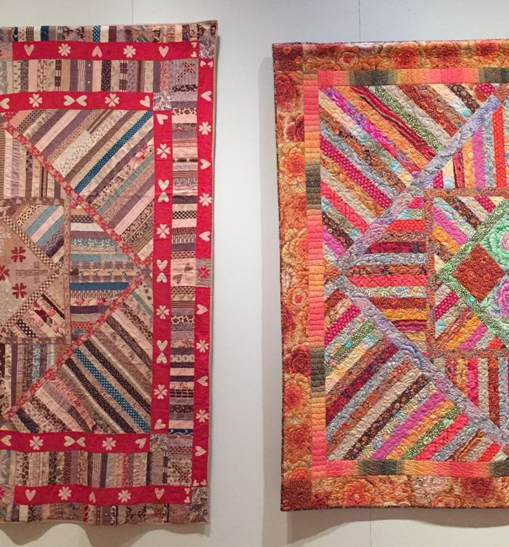 Antique quilt next to Kaffe Fassett quilt at Michener Museum exhibit.