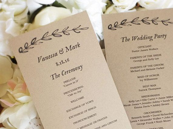 The  Best Diy Wedding Program Template Ideas On