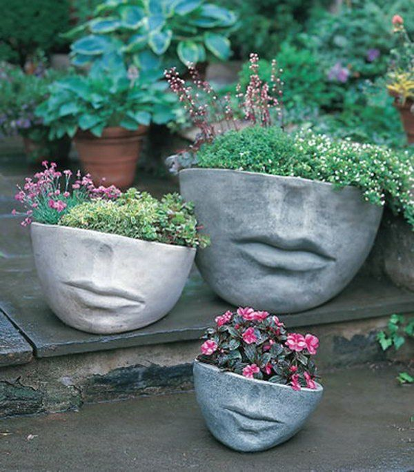 Concrete sculpture gardening. These container gardening ideas offer a great way to brighten your surroundings immediately. Make your home look different unique and interesting.