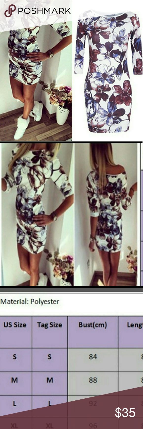 Floral print blush bodycon  dress mini Absolutely trending run errands or go night club with this piece 100 polyester Please take a look at the size chart before choosing the Right size Runs short. Dresses Mini