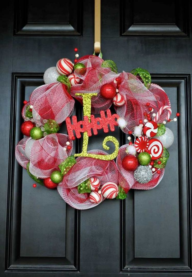 1000 id es sur le th me couronnes de porte d 39 entr e sur for Decoration porte d entree noel