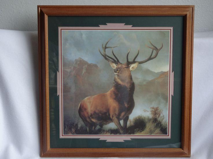 vintage home interior elk deer monarch of the glen 22 x 22 wood frame