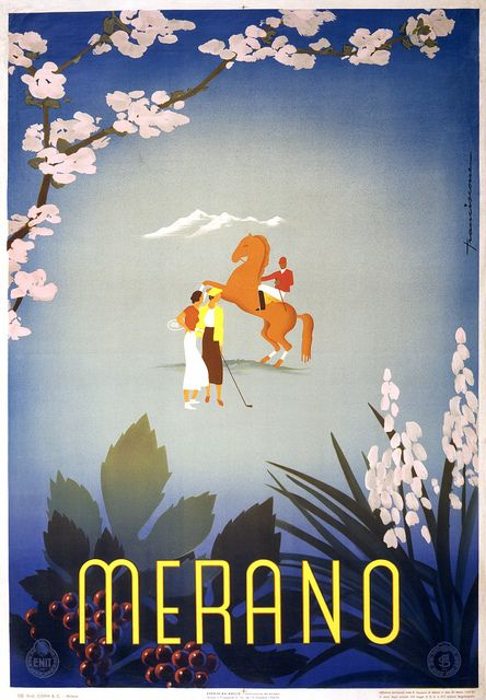Merano, travel poster for ENIT, ca. 1920  Merano. Travel poster by Sergio Franciscone shows a woman with a tennis racquet, another woman with a golf club, and a man riding a horse, surrounded by grapes and blossoms. Print by Offici Grafici Coen & Cie., Milano, for ENIT (Ente Nazionale Italiano per il Turismo), ca. 1937.