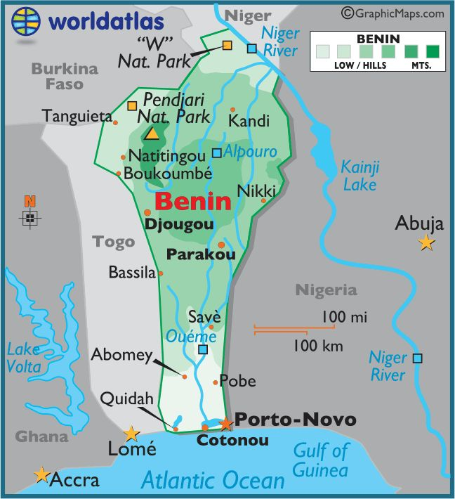 #1 Nearby Benin are Lake Volta, the Atlantic Ocean, the Gulf of Guinea, the Niger River, and Kainji Lake.