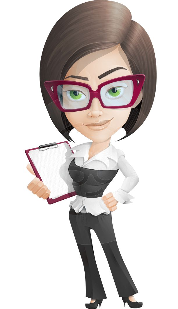 Cartoon Characters Glasses : A formally dressed female vector character with one sided