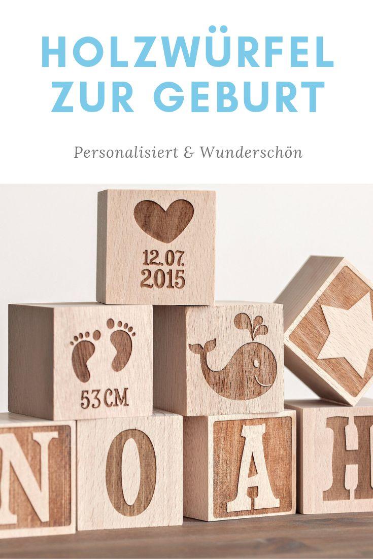 Personalisierte Holzwürfel mit Gravur   – Baby Geschenkideen