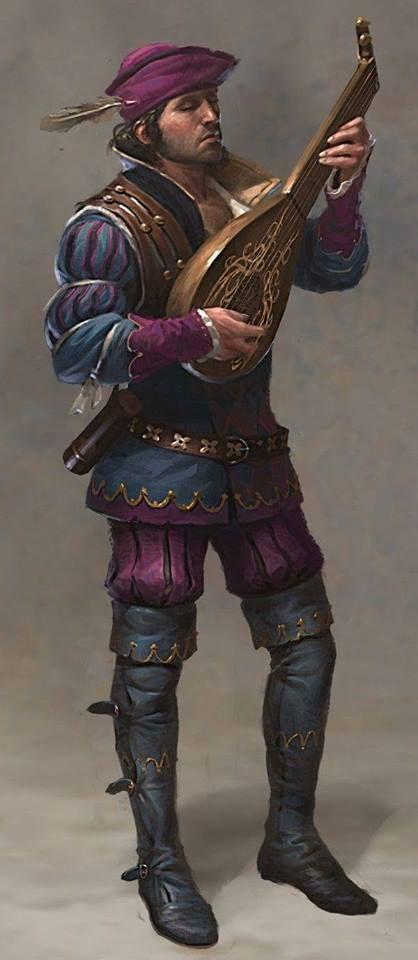 Quenellaanse muzikant aan het hof van Quon, te zien aan zijn paars-blauw kledij.