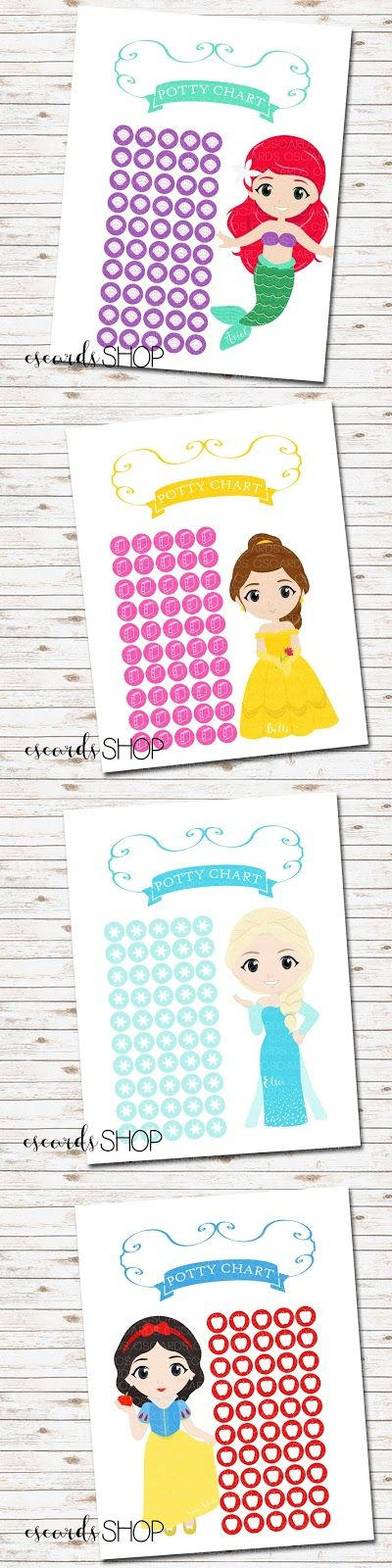 Disney Princess Potty Charts! Such a fun way for little girls to earn a sticker when they do a great job! 50 places for stickers! 10 different princesses to choose from! Only $5! --CS Cards