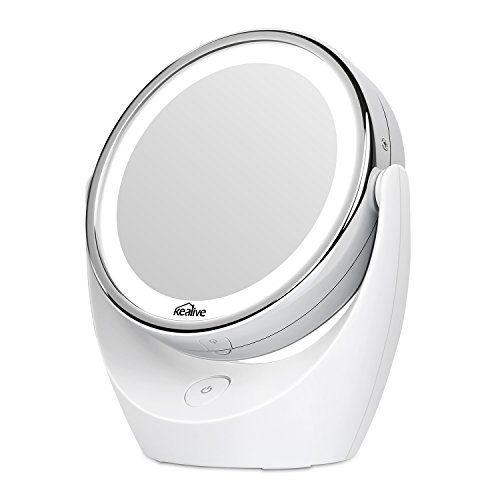 Kealive Specchio per Trucco Double Face Specchio Cosmetico Illuminato con Luci LED Ingradimento 1X / 5X 360° Girevole per Trucco, Camera da Letto, Rasatura e Viaggio (5X/1X)
